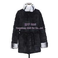 BG30349  2014 New Design Luxury Nature Rex Rabbit Fur Coat With Stripe Black Fur Coat Plus Size