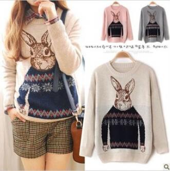 Г-н Кролик Зимний Новый корейский Институт Ветер Свободный пуловер свитер Дамы куртки с длинными рукавами
