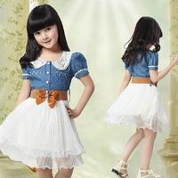 New Fashion Children clothing cotton denim dress teenage girl one-piece dress child vintage princess dress with belt