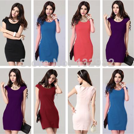 NEW 2014 FASHION WOMEN CLOTHING SUMMER DRESS SLEEVELESS TANK TOP CUTE SHORT MINI ABOVE KNEE LENGTH BLUE RED PURPLE BLACK WHITE(China (Mainland))