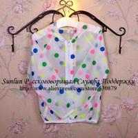 2014summer dot lycras rashguard sun protection  t shirt for girls,long sleeve t shirt for children cute dot printed WLC-013
