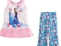 Baby Girls Summer Clothing sets 100%cotton Fashion Girl's suit sets Frozen Princess Elsa&Anna pajamas Sets T-Shirt+ pants