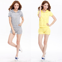 Fashion Women 2014 Summer New 2 Piece Crop Top And Sports Set  Training Suit Vestido   Informal Sports Costumes Roupas Femininas