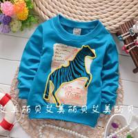 New Arrival 2014 Fashion Cartoon Horse Long Sleeve T Shirt Children Cute Autumn Tops Tees