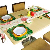 Novelty Households Placemat Chrysanthemum Pattern Table Mat Cup Mat  8pcs Sets Pad size 4L+4S sets B19008