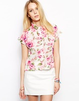 woman cute chiffon blouse with bright white with light pink rose printed for wholesale and free shipping haoduoyi
