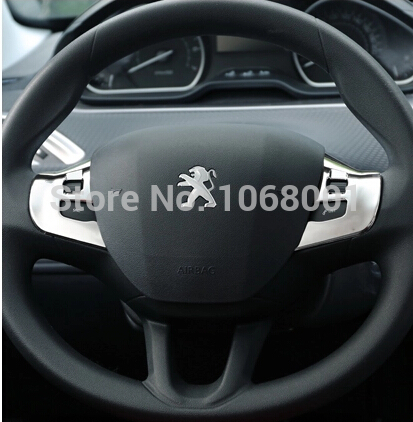 ABS Steering wheel sequins stickers wheel sticker NA low distribution models case for 2014 Peugeot 2008 accessories(China (Mainland))