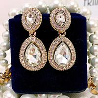 Free Shipping! Luxurious Elegant Crystal Gem Full Rhinestones Waterdrop Dangle Drop Earrings Fashion Jewelry for Women