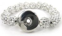 Free shipping New arrival white shamballa pave ball crystal ball metal Button Disco Ball Bracelet