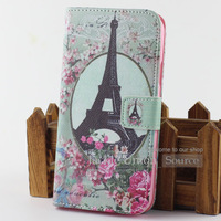For Samsung Galaxy Note 3 N9000 Cute Bird TPU + PU Leather Flip Eiffel Tower Style Keep Calm Cover Case Flower Stand Wallet