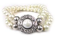 Free shipping new arrive  pearl beads double row Bracelet Fashion pearl metal button Bracelet