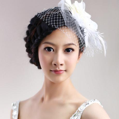 Flower feather hair accessory hairpin rhinestone the wedding hair accessory(China (Mainland))