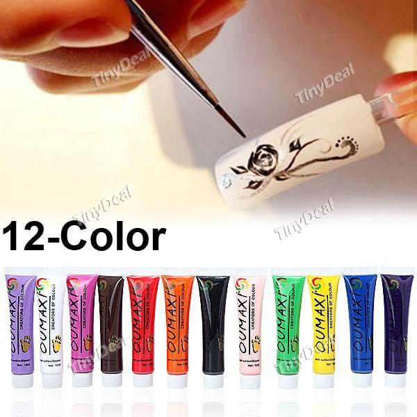 holesale new Acrylic UV Gel Design 3D Paint Tube Nail Art Pen 12 Colors Nail Polish False tips Drawing 12pcs/lot Free Shipping(China (Mainland))