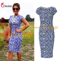 M-XXL new 2014 summer Geometric pattern pencil dress women sexy fashion bodycon dress pule size casual party dresses # 6694