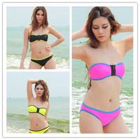 New 2014 Neoprene Bikinis Set Brand Patchwork Swimwear Women Vintage Zipper Triangle Bikini Push Up Swimsuit Free Shipping