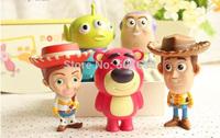 2014 New Hot Woody Buzz Lightyear Jessie Lotso Mini PVC Action Figure Model Toys Dolls with Retail Box 8cm 5pcs/set