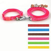3 Sizes Dots Print Nylon Dog Puppy Pet Collar & Walking Leash Set