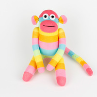 Christmas New Year Gift free shipping 100% handmade DIY stuffed sock animals doll baby toys Colorized Striped Pink sock monkey