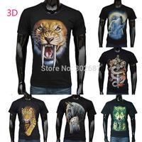 Adult 3D Animal Pattern Summer Tops 100%Cotton Men Short Sleeve T-Shirt Free Shipping 1PCS