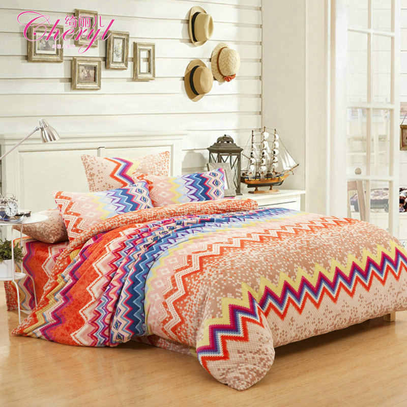 Autumn and winter fashion thermal sheets thickening flannel bedding set piece(China (Mainland))