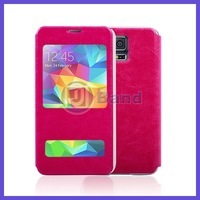 For Samsung Galaxy S5 i9600 Smooth Flip Stand Leather Cover Case With Window Slot