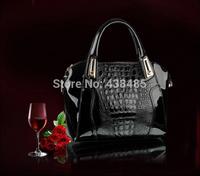 Promotion 2014 Crocodile Women Handbag Black Women Leather Handbag Ladies Tote Shoulder Bag Luxury Women Messenger Bags Cheap