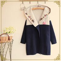 Mori girl hoodied abrigos mujer flower embroiderychic winter survetement femme coats outerwear tricot inverno feminina Blazer