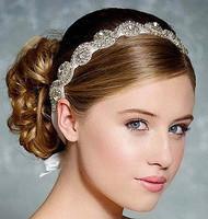 Cheap authentic Korean explosion models of high-end bridal hair accessories rhinestone bridal jewelry beautiful ribbon headdress