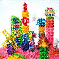 Wholesale 400pcs/Bag 5Bag/Lot Colorful Plastic Snowflake Blocks Toy Assemblage to Many Shape For Children / Learning & Education