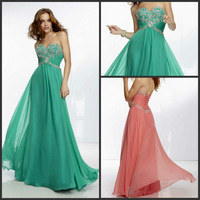 Fashion Sweetheart Beads Strapless Chiffon Gown by Paparazzi Elegant Evening Dresses 2014 New Arrival