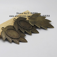 (10 pieces/lot) Antique Bronze Metal Maple Leaf 18*25mm Oval Cabochon Pendant Setting Jewelry Blank Findings 7536