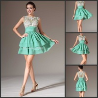 2014 Vestidos De Coctel Beautiful Mint Green Sheer Lace Tule Neck Top Layered Short Cocktail Dress
