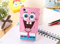 Hot sell,New arrival fashion cute cartoon SpongeBob SquarePants model silicon case cover for iphone5 5S 5c, good gift,CP 74