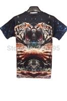 New 2014 Fashion Women /  ManLovely Tiger Print Short Sleeve  Tee New Novelty  T Shirt Size XXL,Free Shipping