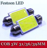 100pcs/lot 31mm /36mm/39mm COB 3W 12Chips SMD LED 12V Dome Festoon Interior Panel Bulb White Light
