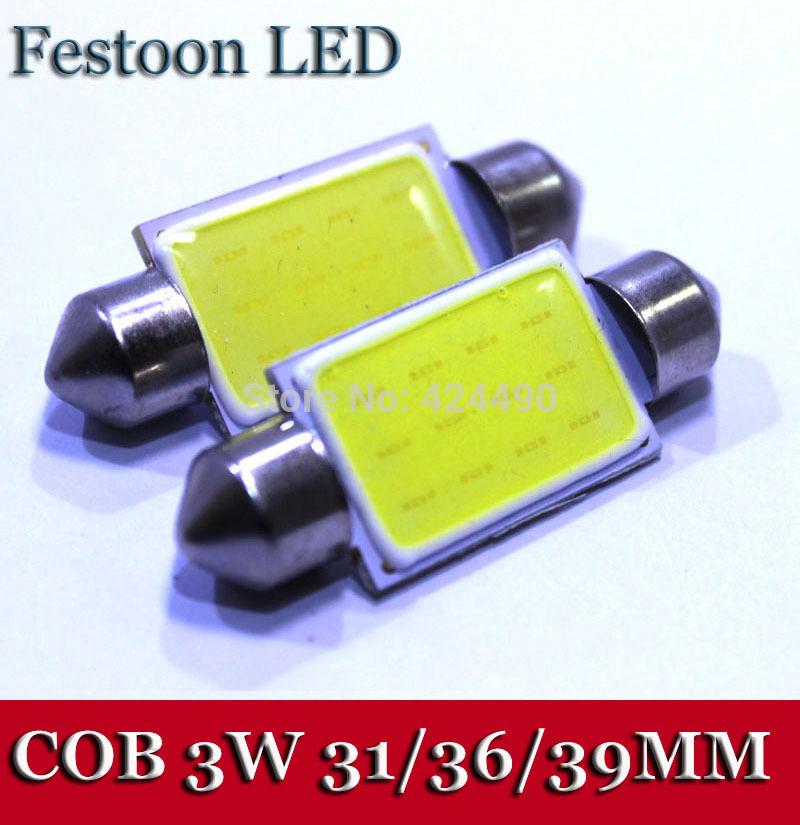 10Pieces/lot 2014 New Festoon COB 31MM / 36MM /39MM 3W Car LED Bulbs Interior Dome Festoon Lights White 12V(China (Mainland))