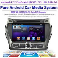 Pure Android 4.2.2 PC For Santa fe 2013 IX45 Headunit GPS Navigation Car Multimedia dual Core WIFI 3G Bluetooth Free Map DHL EMS