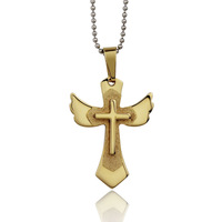 Angel wing cross necklace & pendants filled gold jewelry for women christmas gift