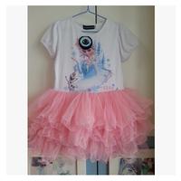 T1116 1pcs lace snow short sleeve Children's dress frozen cartoon Elsa tutu pink blue girls frozen dress tutu princess