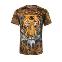 Men's t-shirts, 3 d printing to dye the tiger animal motifs short-sleeved summer leisure fashion