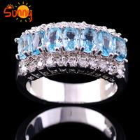 Size7/8/9/10/11 2014 Fashion Jewelry lady's  Aquamarine Ring  10KT white Gold Filled  1pc freeshipping