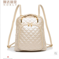 2014 Korean fashion simple style shining solid women's doubles bag backpacks school bags white black 2 colors