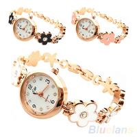 Womens Girls Luxury Rhinestone Big Flower Decoration Bracelet Wrist Watch  1OLW