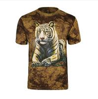 Men's t-shirts, 3 d printing to dye the white tiger  animal motifs short-sleeved summer leisure fashion
