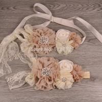 Retail 1 Set Baby Sash Belt Wedding Sashes matching Headband