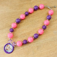 Pink&grey candy beads bubblegum baby girl frozen Anna bottle cap pendant necklace 2pcs/lot