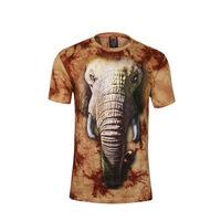 Men's t-shirts, 3 d printing to dye the elephantr animal motifs short-sleeved summer leisure fashion