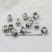 (50 pieces/lot) Antique Silver Alloy Cameo Poker symbol 7*7*7mm Big Hole Beads Charms Findings For Pandora Charms 7539