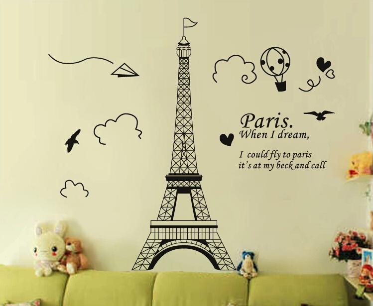 Paris Torre Eiffel adesivos de parede decora??o da casa para sala de estar frete grátis(China (Mainland))