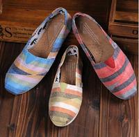 3 Colors Fashion Flat Canvas Shoes Classic Casual Canvas Shoes Multicolour Stripe Slip On Shoes PDX73